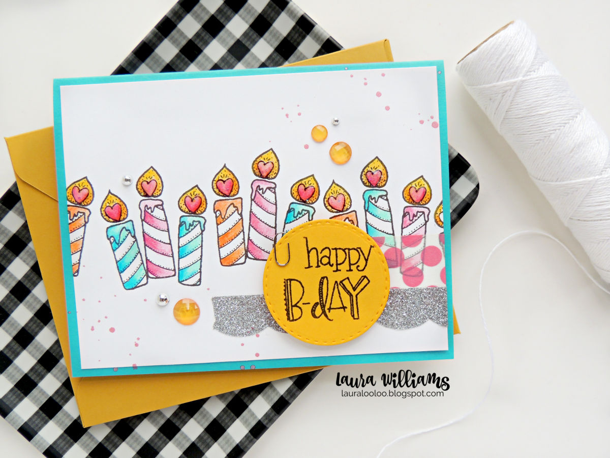 Use Impression Obsession stamps to make and clean and simple handmade birthday card using just two stamps. Stamp the candle trio stamp repeatedly to make a row of candles and then add a simple stamped sentiment on a die-cut circle. Add color and washi tape to finish off this festive cardmaking idea. #handmadecards #birthdaycards #iostamps