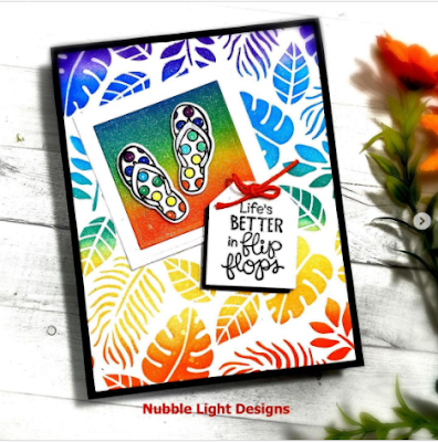 Life is better in flip flops by Claire L. features Flip-Flip Life and Tropical Leaves by Newton's Nook Designs; #newtonsnook, #cardmaking