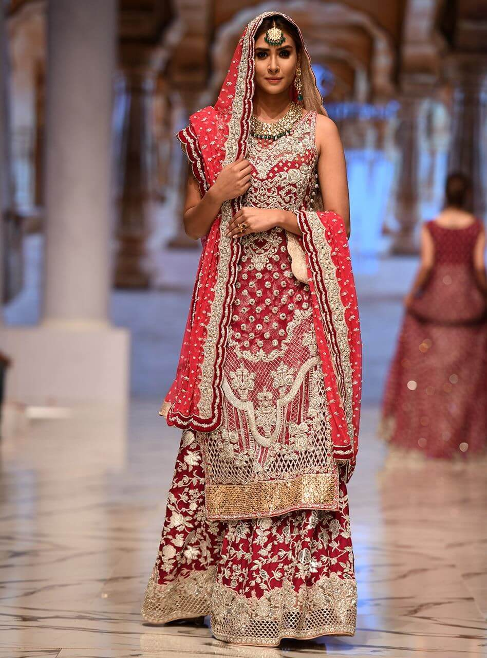 Floral Neckline Bridal Dress by Zainab Chottani with Magenta Sharara