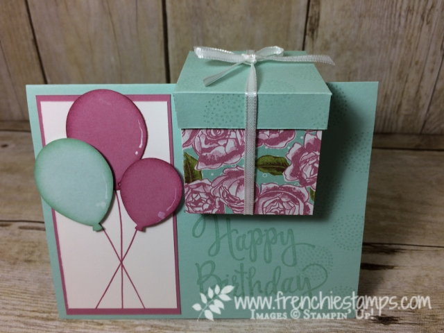 Gift Box in a card,  Happy Birthday Stylized, Balloon Celebration,Petal Garden Designer paper, Balloon Bouquet Punch, Stampin'Up!
