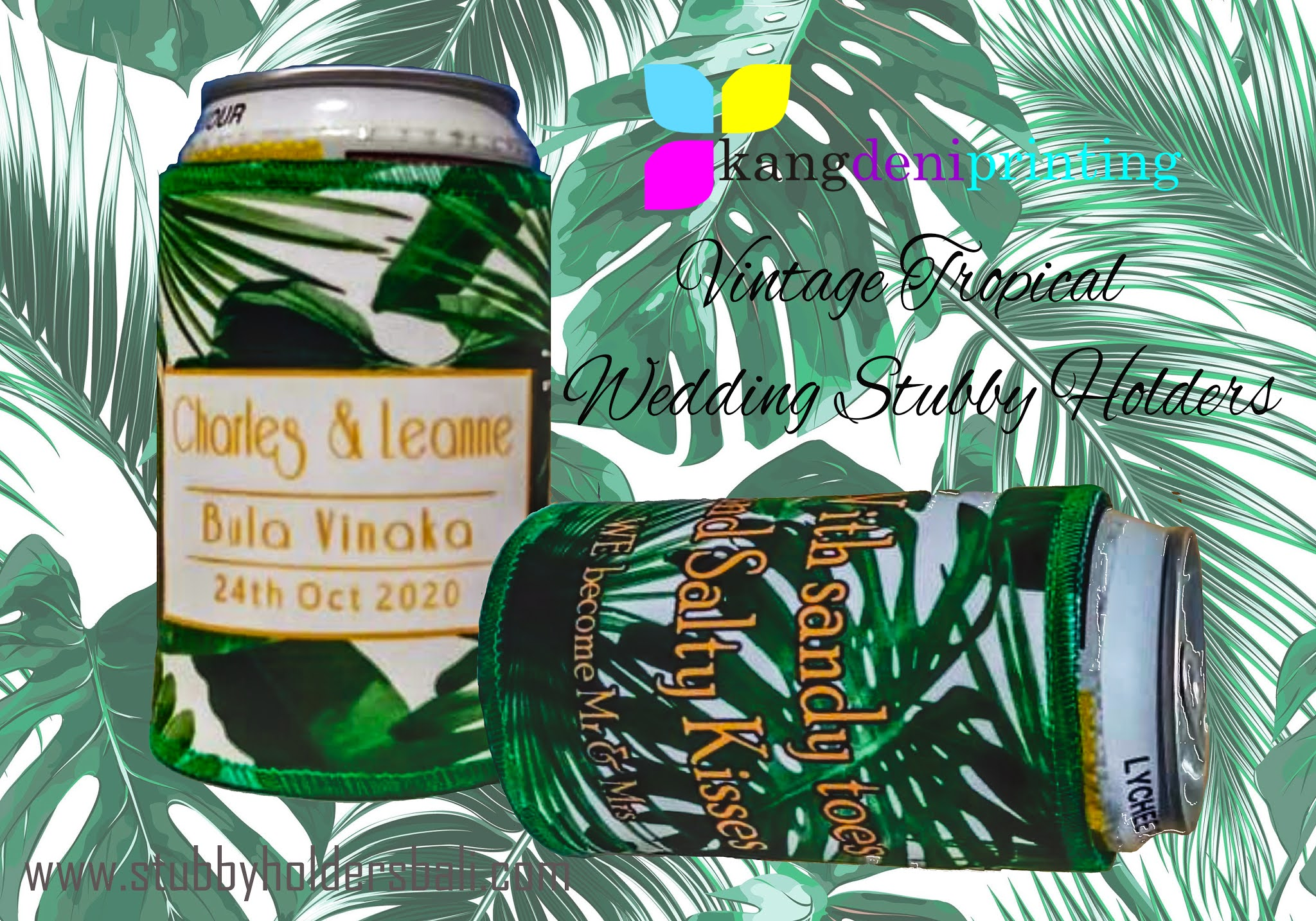 Product Vintage Tropical Wedding Stubby Holders