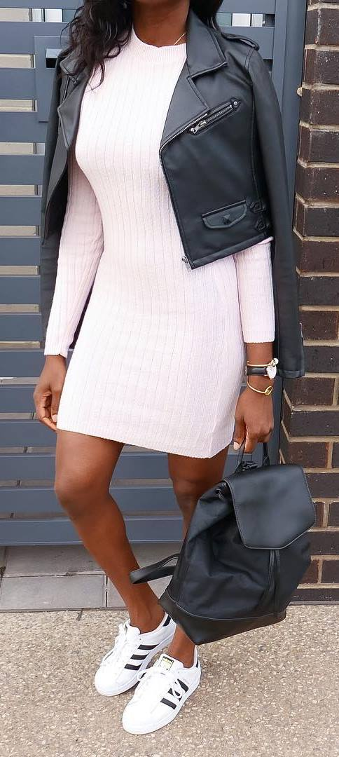 casual outfit inspiration: jacket + dress + sneakers