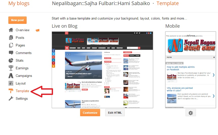 How to reset blogger template to the default nepalibagansajha 2 click on templates located on your left side bar pronofoot35fo Image collections