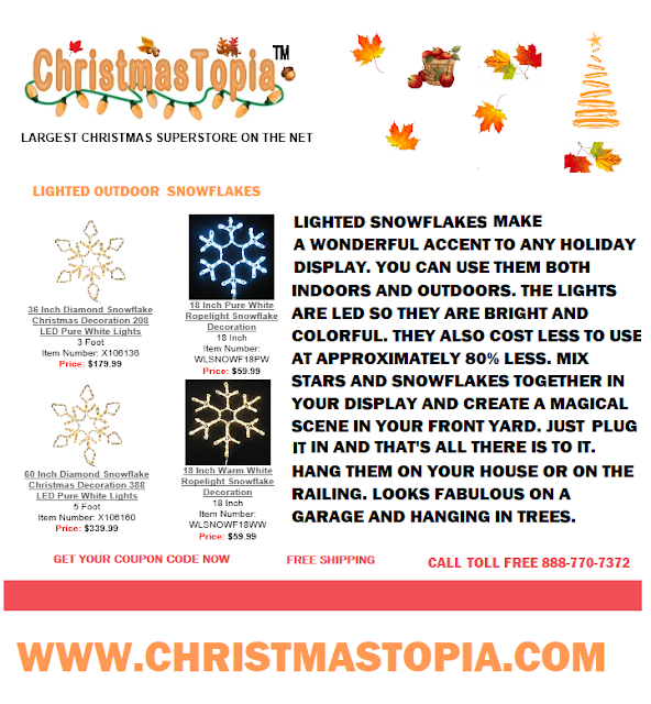 Our lighted Snowflakes selection will take your holiday display to the next level but first get your coupon code for a discount and free shipping when you click on the link provided