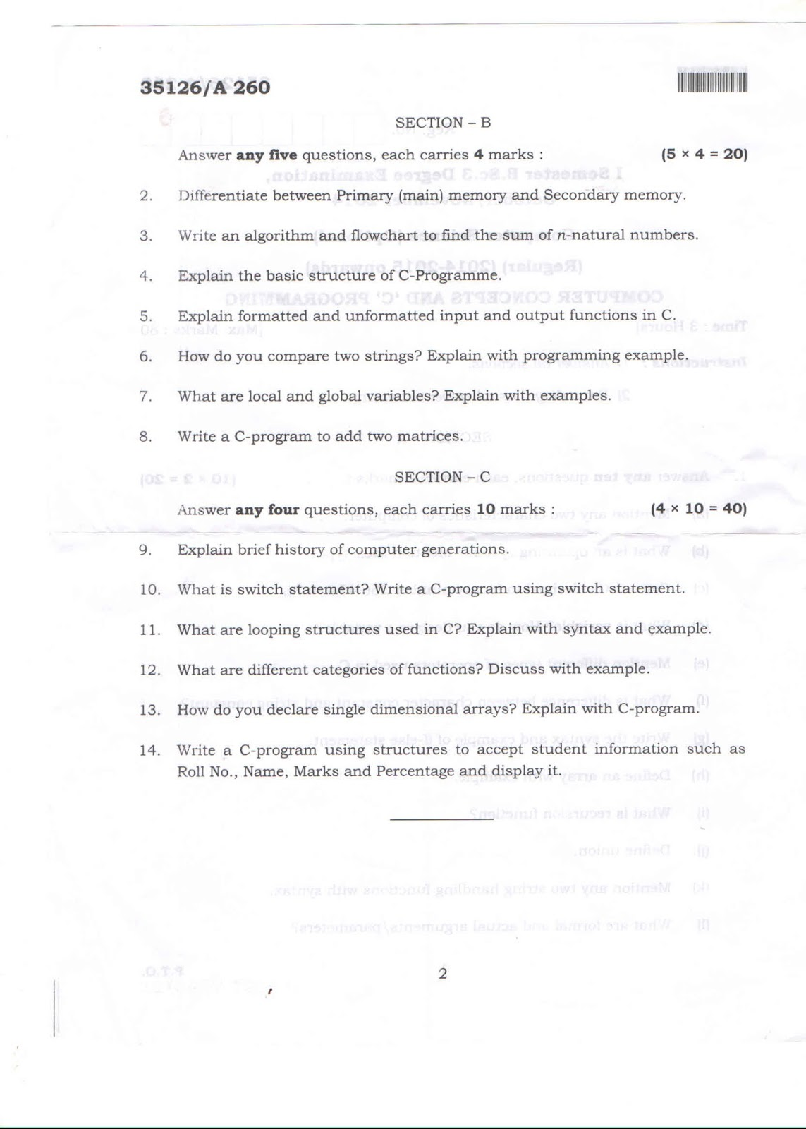 C Programming Question Paper Department Of Bca