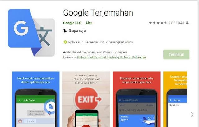 Google Translate,Aplikasi penejemah Favorit pada Android di unduh lebih dari 1 Milyar kali