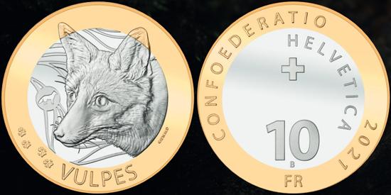 Switzerland 10 francs 2021 - Red Fox (Vulpes vulpes)