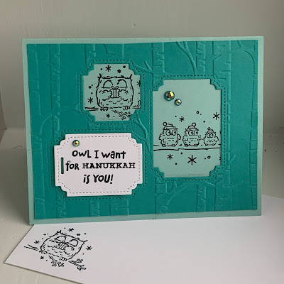 Hanukkah Card with Owls and Woods