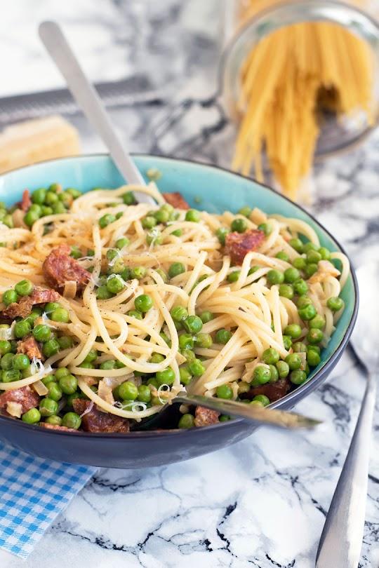 recette Spaghetti petit pois et chorizo