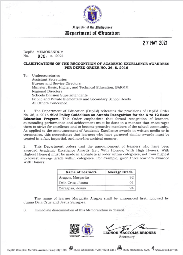 DEPED: CLARIFICATIONS ON THE RECOGNITION OF ACADEMIC EXCELLENCE AWARDEES PER DEPED ORDER NO. 36, S. 2016