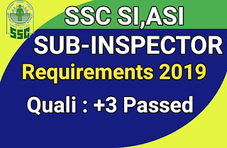 SSC SI and ASI Recruitment 2019-Apply For  Various Post