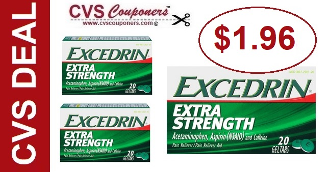 Excedrin CVS Couponers Deal $1.96 - 7/21-7/27
