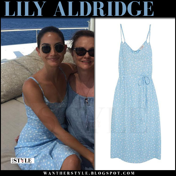 Lily Aldridge in light blue printed dress hvn lily what she wore june 19 2017