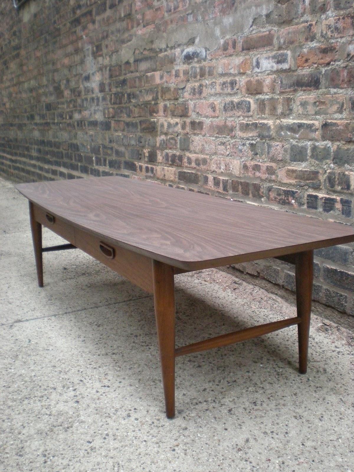 Lane Danish Modern Style Coffee Table W Drawer