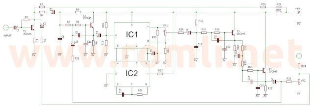 Skema rangkaian ECHO menggunakan IC MN3207