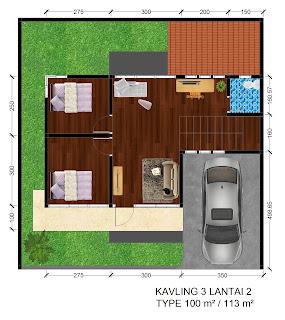 Gambar denah Rumah Griya Permai Sidoarum Kavling 3 Lantai 2