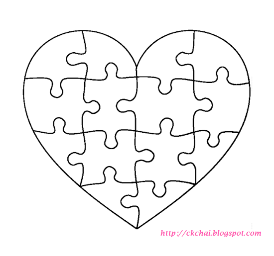 Puzzle of life free heart shaped puzzle template for Puzzle a colorier gratuit