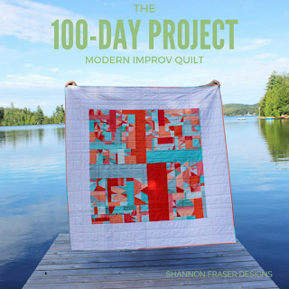 The 100 Day Project Modern Improv Quilt | Shannon Fraser Designs #the100dayproject #modernimprov #improvquilt