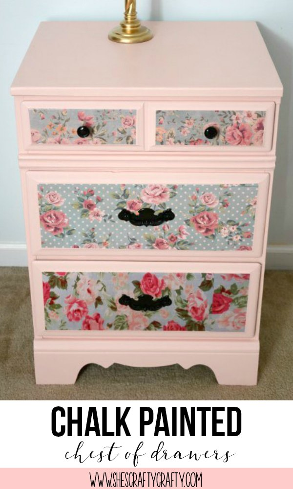 coral chest, floral tissue paper drawers