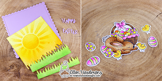 Easter Card by Ellen Haxelmans | Hop Into Spring Stamp Set, Land Borders Die Set, Frames Squared Die Set by Newton's Nook Designs #newtonsnook #handmade