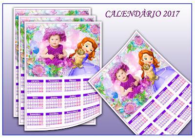 Calendário 2017 Editável - Princesa Sophia