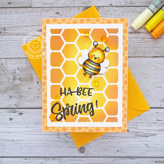 Sunny Studio Stamps: Chickie Baby Happy Owl-o-ween Frilly Frame Dies Spring Card by Vanessa Menhorn
