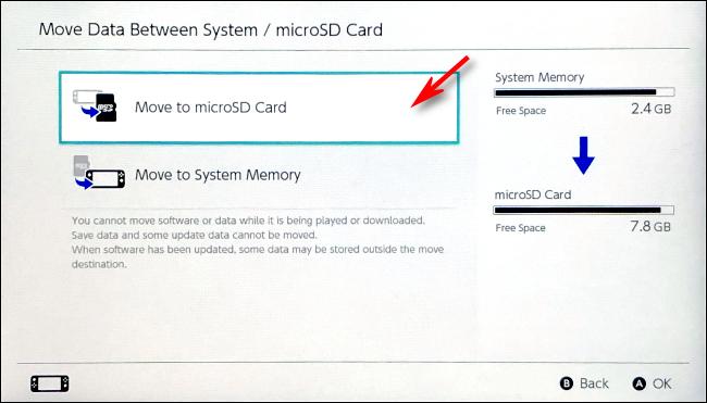 حدد الانتقال إلى بطاقة microSD على Nintendo Switch