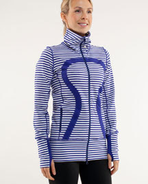 lululemon pigment blue and white striped in stride jacket