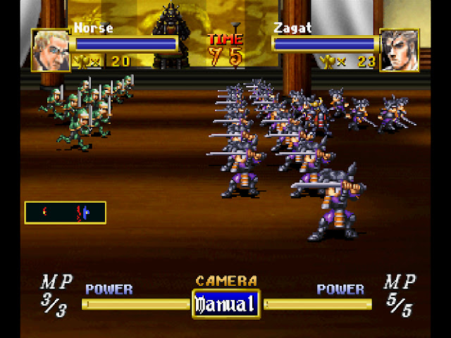 Two enemy armies face off against each other on an indoor battlefield.