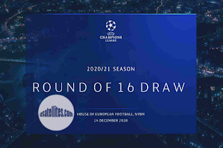 UEFA Champions League Round of 16 Draw Eutelsat 7A/7B Biss Key 14 December 2020