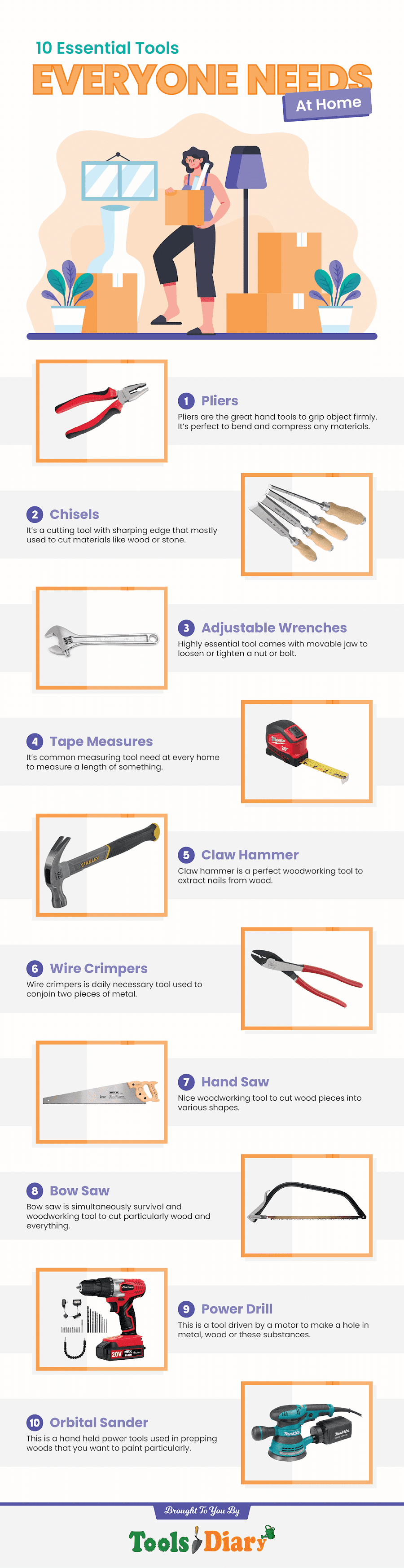 10 Essential Tools Everyone Needs At Home #ifographic