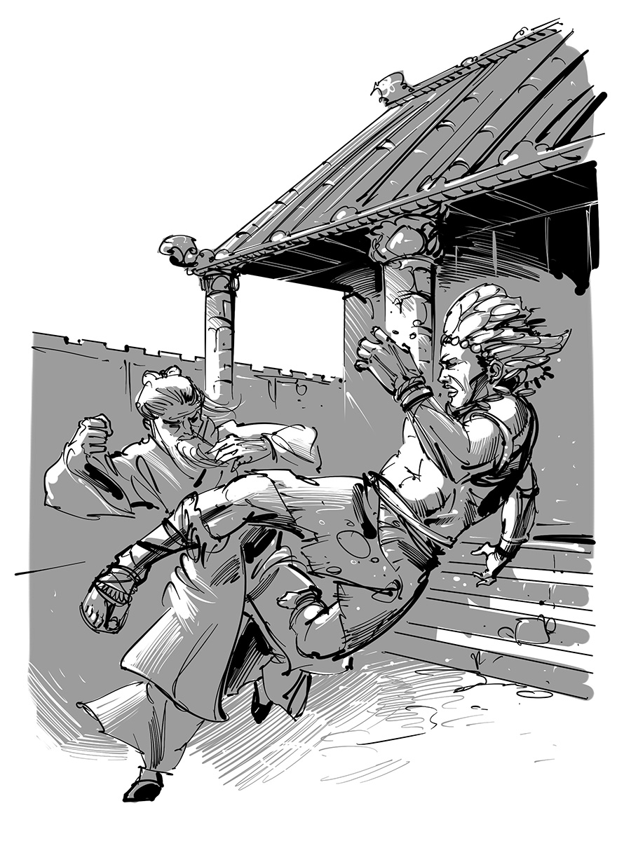science fantasy novel illustration tribal hero with chinese master kungfu action