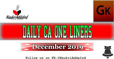 One liner current affairs December 2019
