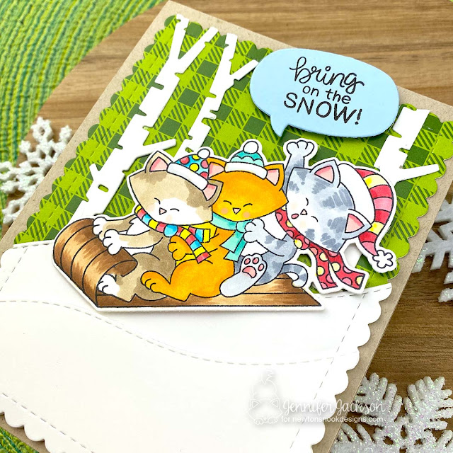 Bring on the Snow! Winter Cat card by Jennifer Jackson | Newton's Toboggan Stamp Set, Meowy Christmas Paper Pad, and various die sets by Newton's Nook Designs #newtonsnook #handmade