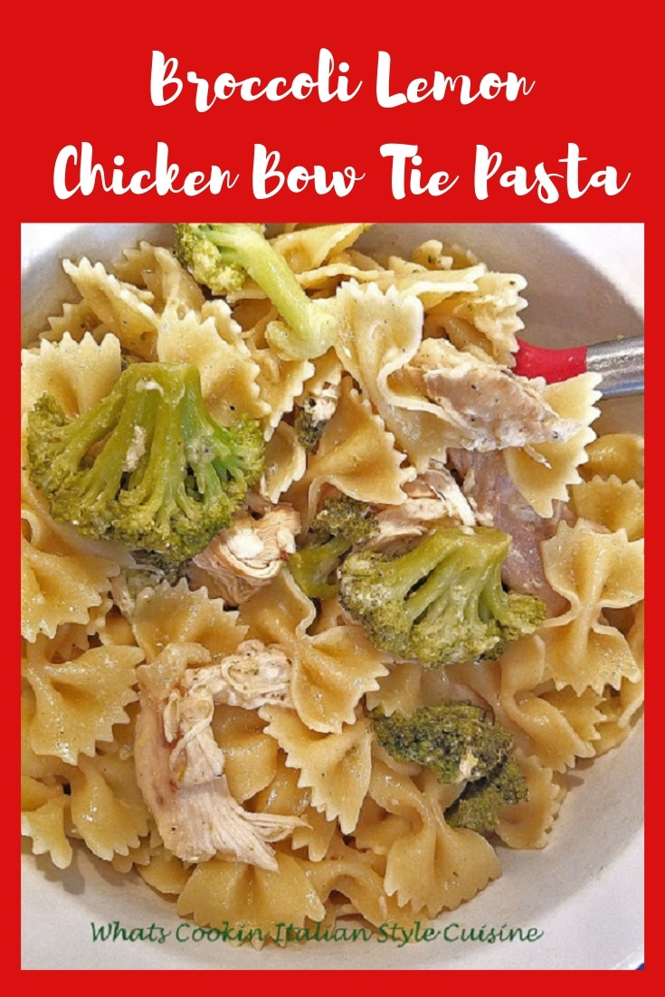 this is a pasta dish with chicken broccoli and lemon sauce