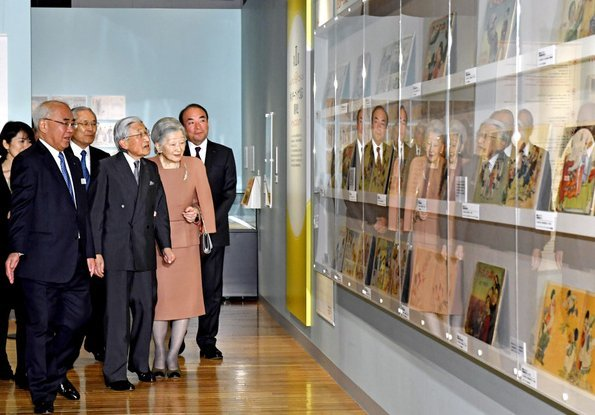 "Emperor Akihito and Empress Michiko visited ""90th Year of Kinderbook"" exhibition held at Tokyo's Printing Museum"