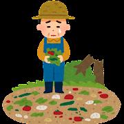 自然災害の被害にあった野菜農家のイラスト