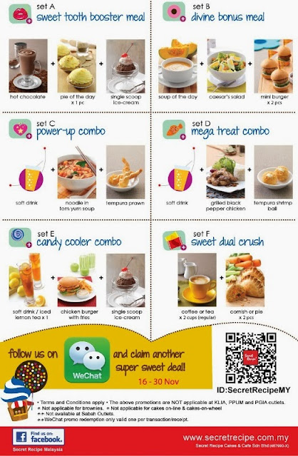 Secret Recipe Malaysia Joins WeChat, Secret Recipe Malaysia, WeChat Malaysia, Secret Recepi Sweet 16 Anniversary, sweet combo set meal