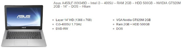 harga laptop asus core i3 vga nvidia tipe a455lf