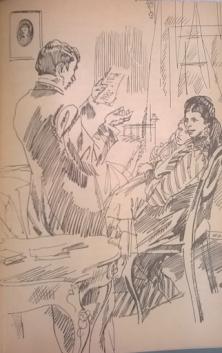 Батько Лесі читає її перший вірш, малюнок