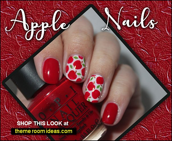 Apples Stencils for Nails fruit nails apple nail designs fruity nails