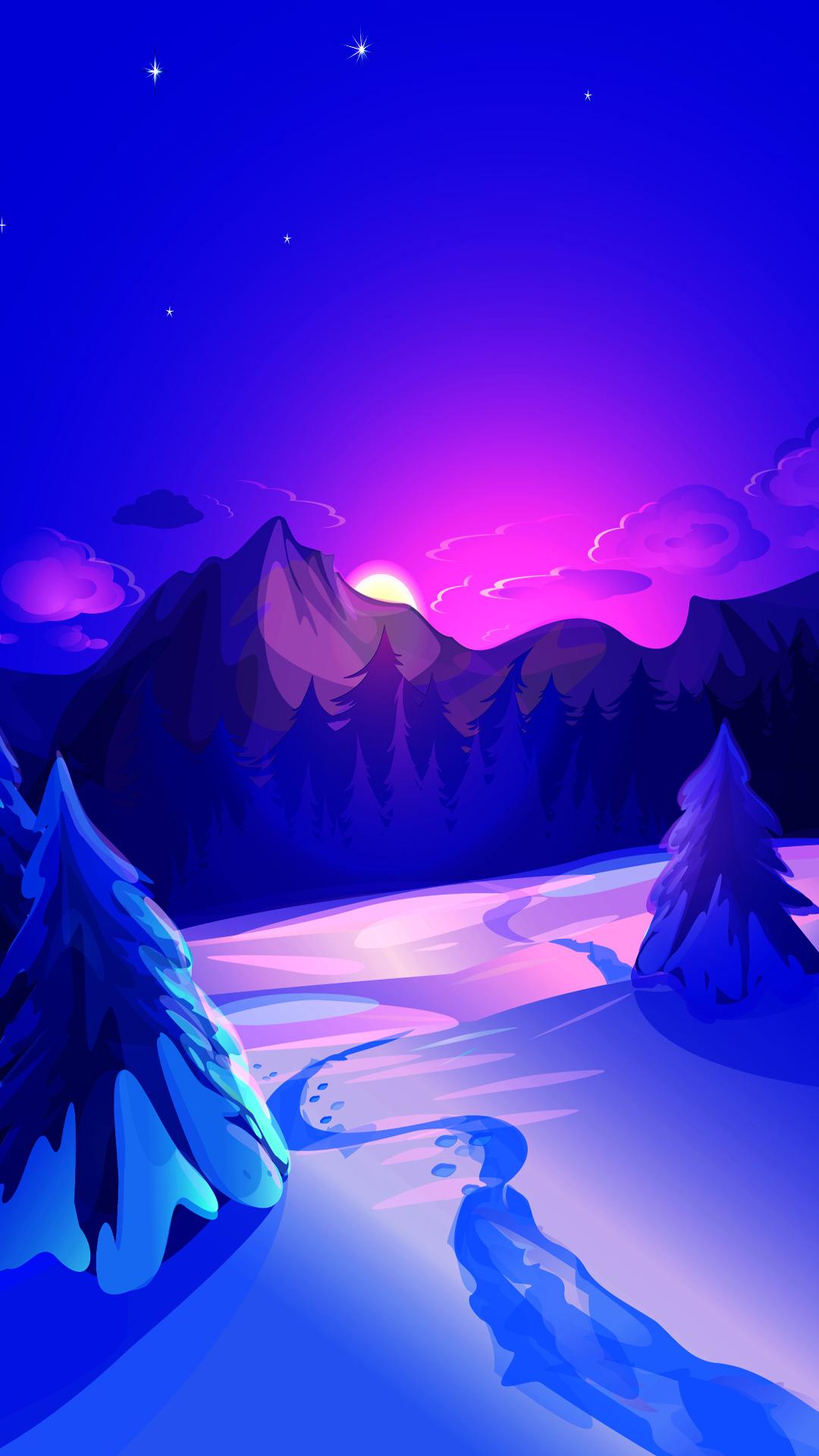Winter night digital art mobile wallpaper