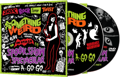 The CD/DVD artwork for the SPOOK SHOW SPECTACULAR A-GO-GO from Something Weird Video and Modern Harmonic!