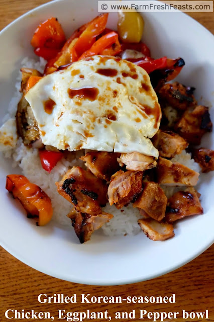 a title image of Grilled Korean-seasoned chicken, eggplant, and pepper rice bowls