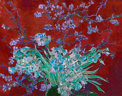 Almond Blossoms Roses Irises Layered 5