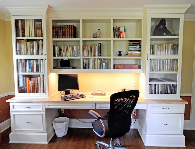 best custom home office desk bookcase with egonomic office chair