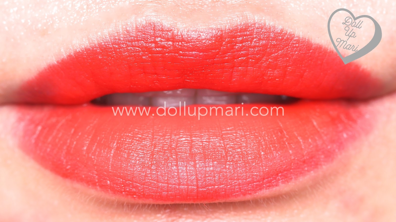 lip swatch of Coral Fever shade of AVON Perfectly Matte Lipstick