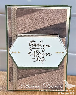 By the Dock, Pressed Petal DSP, Thank You, Male Cards, Masculine Cards, Stampin' Up!, Rhapsody in craft, #loveitchopit