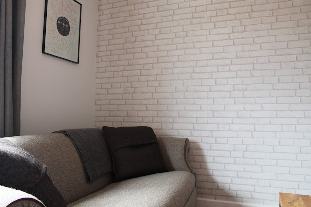 Tweed Sofa - White Exposed Brick Wallpaper Decor