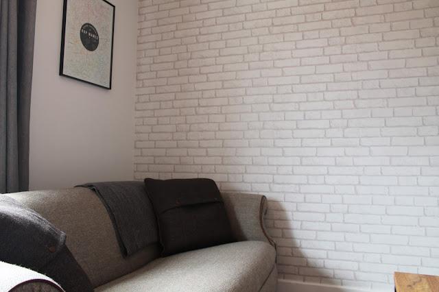 Tweed Sofa - White Exposed Brick Wallpaper Decor